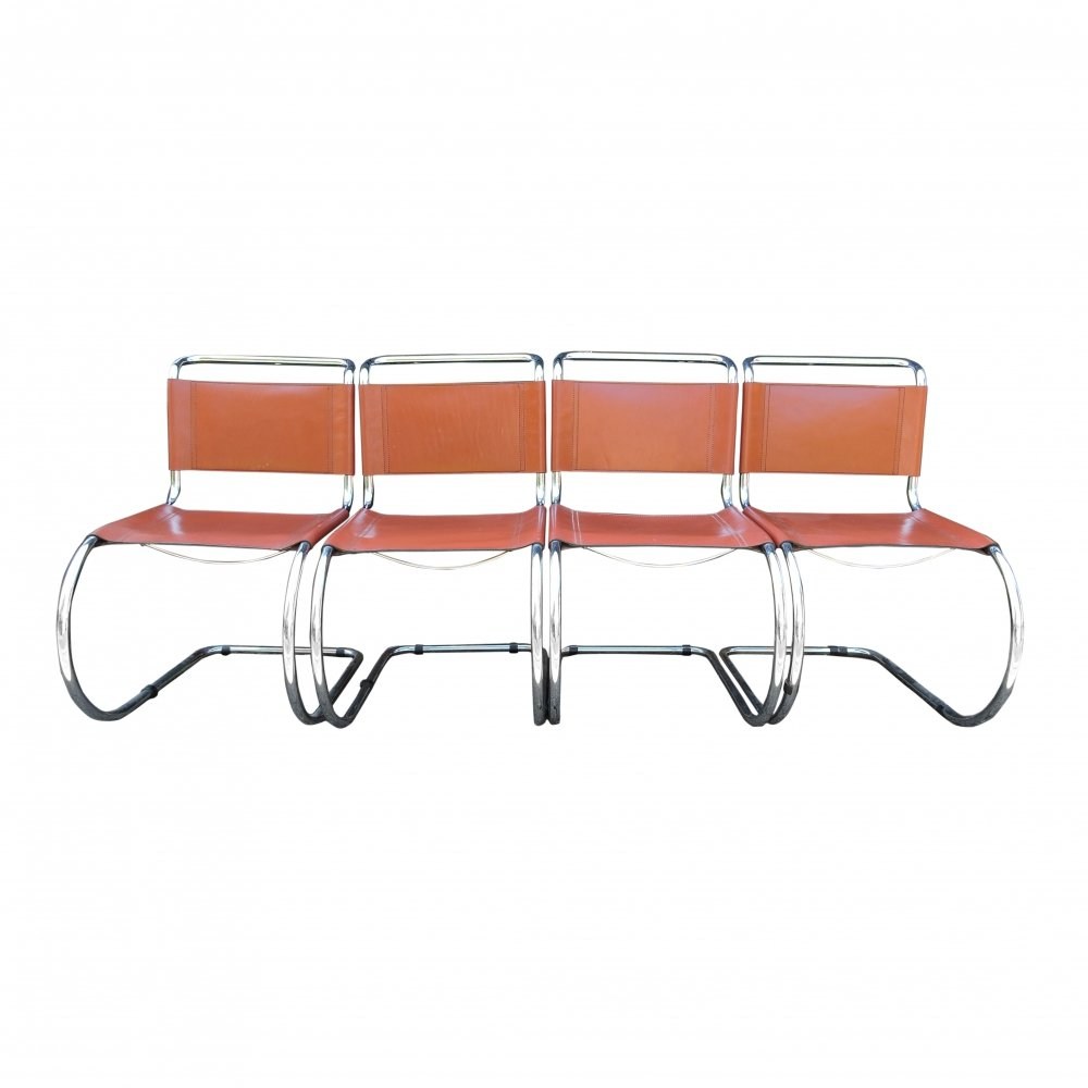 Set of Brown MR Cantilever Dining Chairs by Ludwig Mies van der Rohe, 1960s