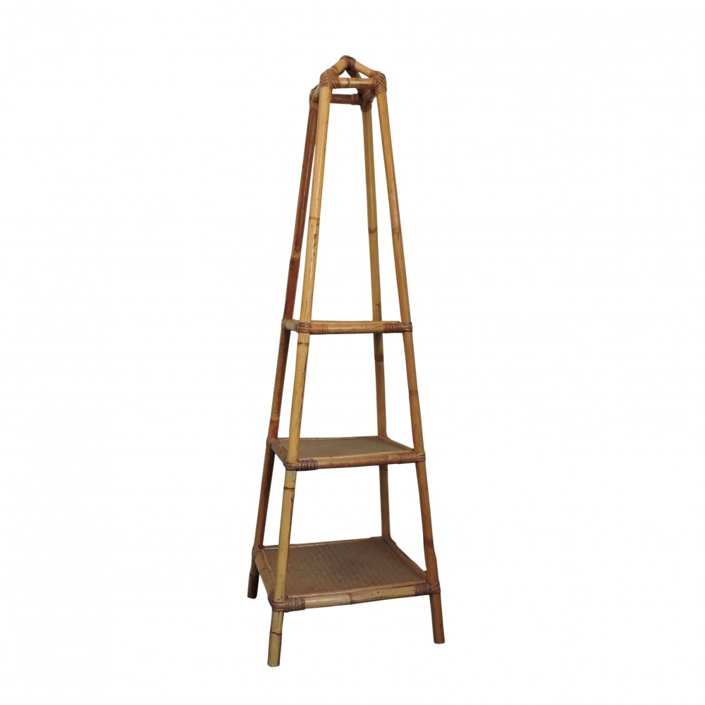 3 Tier Bamboo & Cane Plant Stand, 1970s