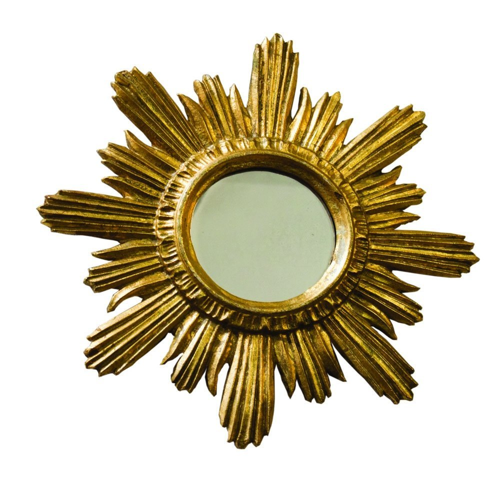 Golden Sunburst Mirror made of Wood Stucco, France 1960s