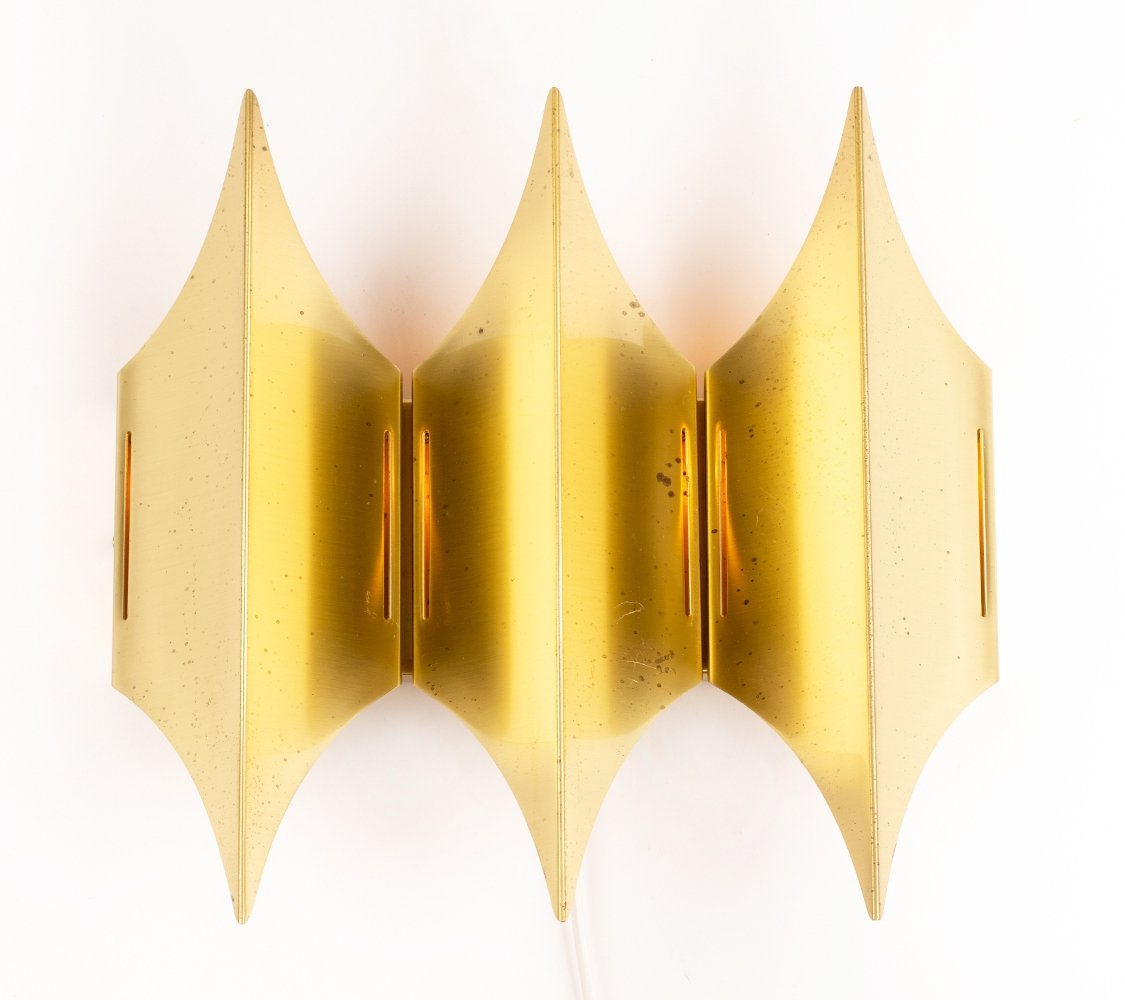 Mid-century brass Gothic III wall lamp by Bent Karlby for Lyfa, 1960
