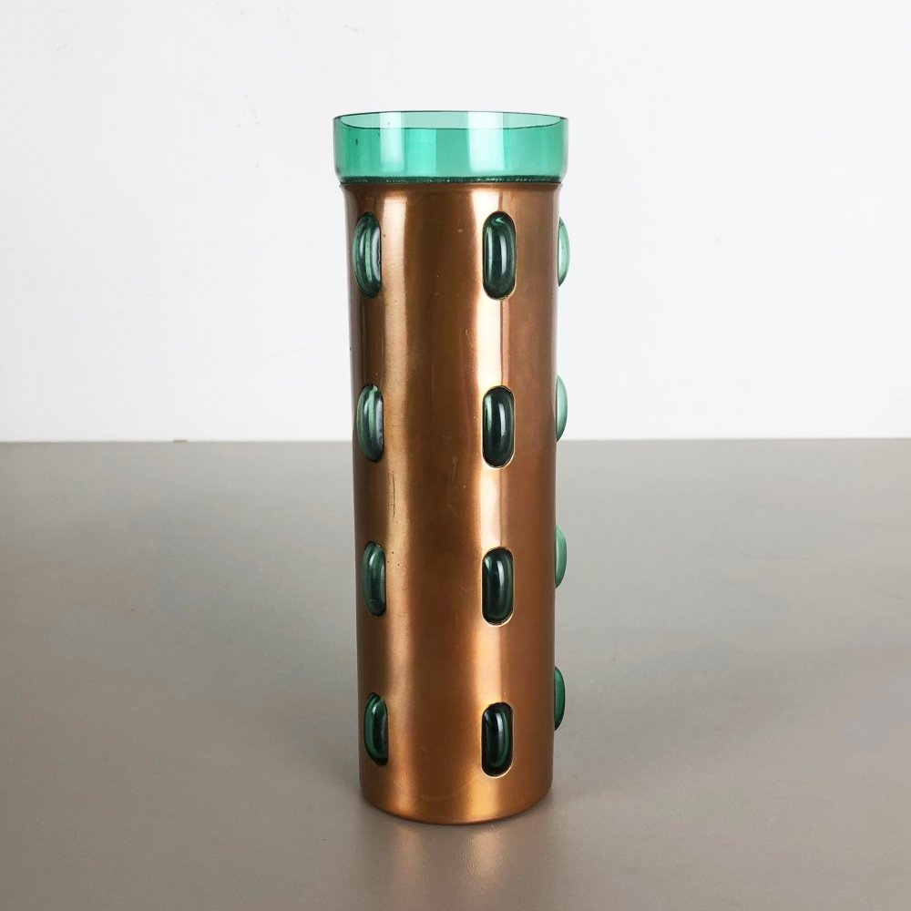 Cylindrical Vase in Green Glass & Copper, 1970s