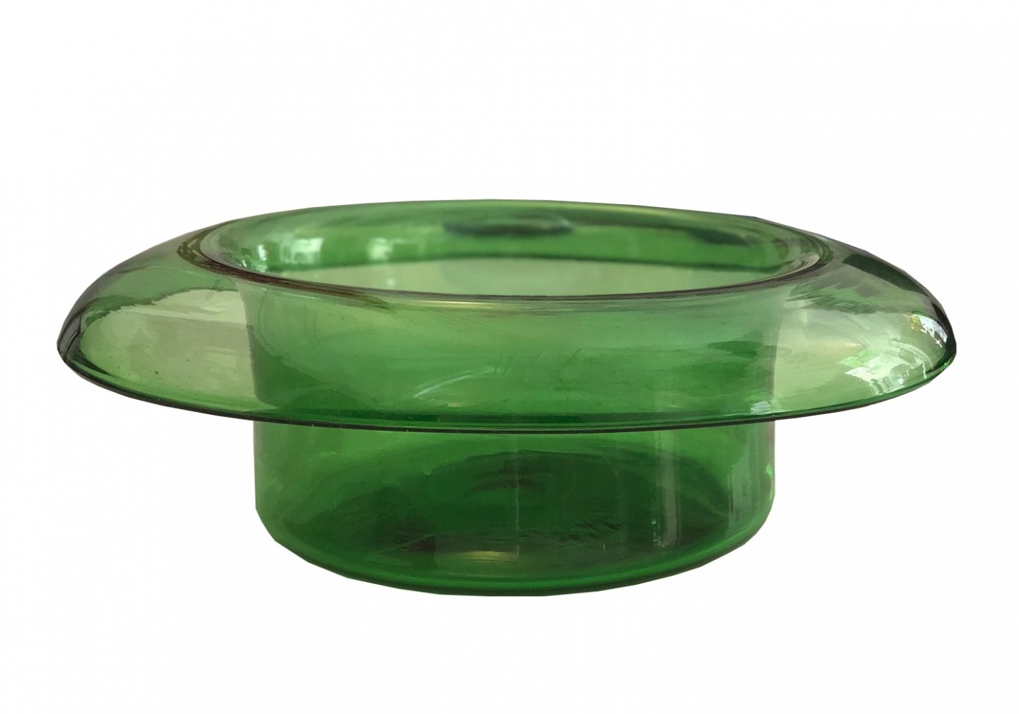 Large vintage Murano Green glass top hat shaped vase, 1970