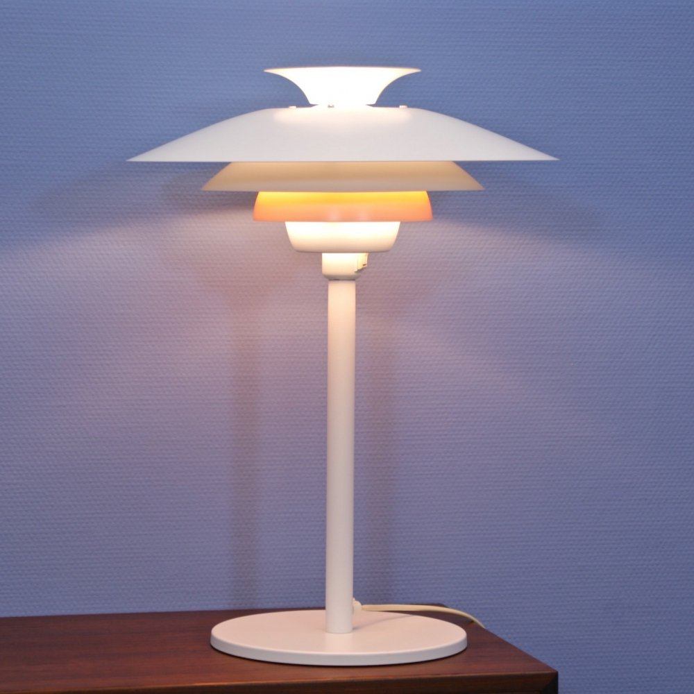 Danish table lamp in white with orange accent by Jeka, 1980s