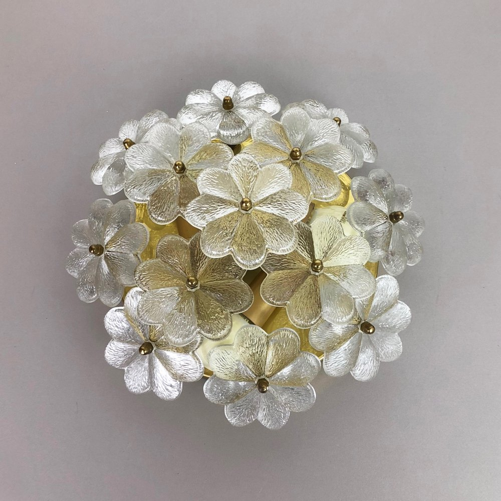 Large Floral Glass & Brass Ceiling Wall Light by Ernst Palme for Palwa, Germany 1970s