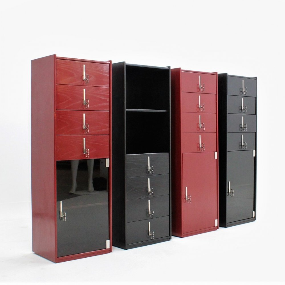Set of 4 vintage laquered cabinets by Vittorio Introini for Saporiti, 1970s
