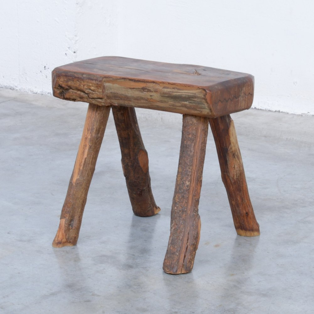 Vintage Wooden Stool by Mobichalet, 1950s