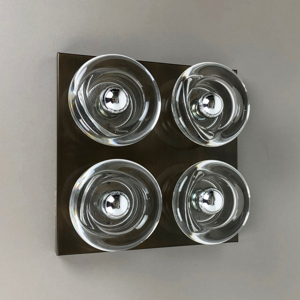 Original Copper & Glass Wall Sconce by Cosack, Germany 1970s