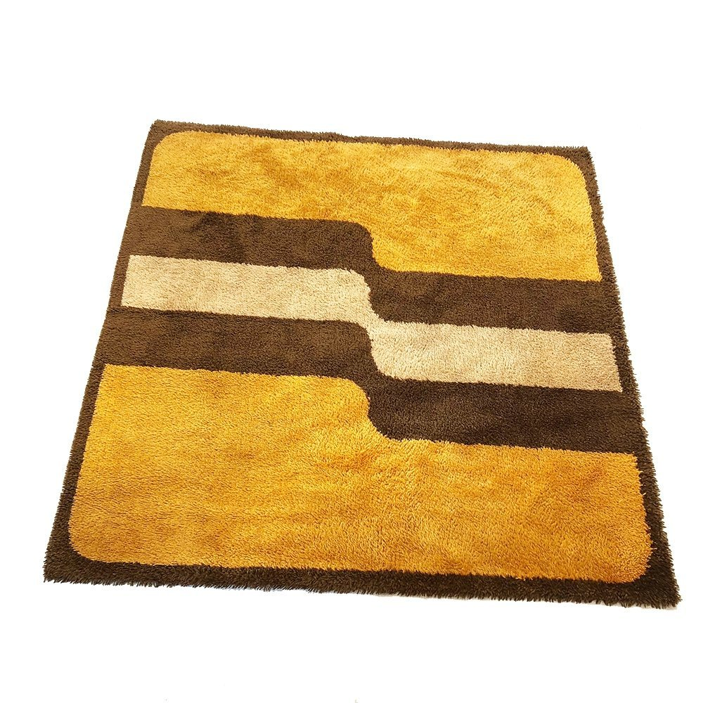 Extra Large Pop Art Multi-Color High Pile Wool Rug by Besmer, Germany 1970s