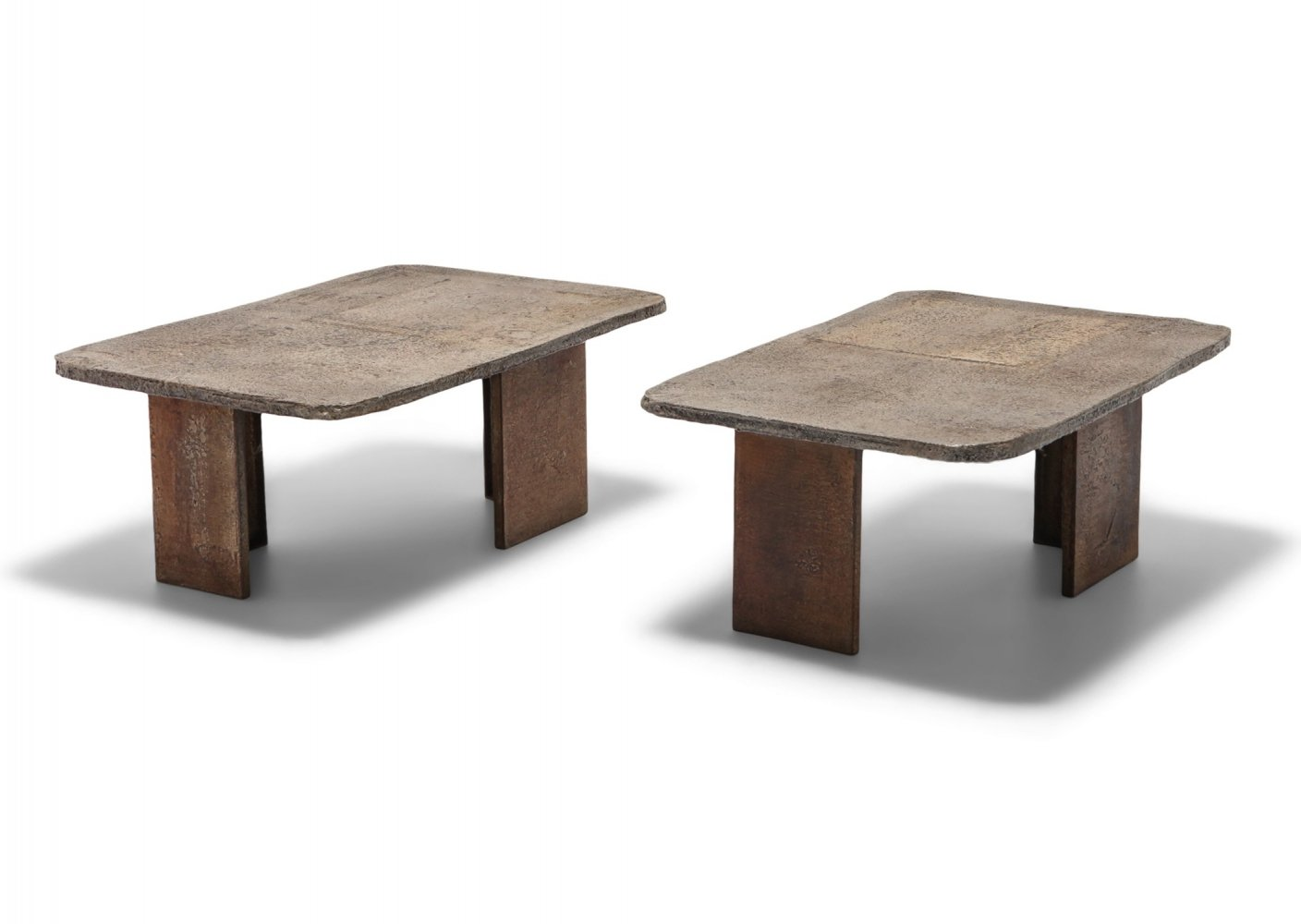 Pia Manu Brutalist Pair of Side Tables, 1970s