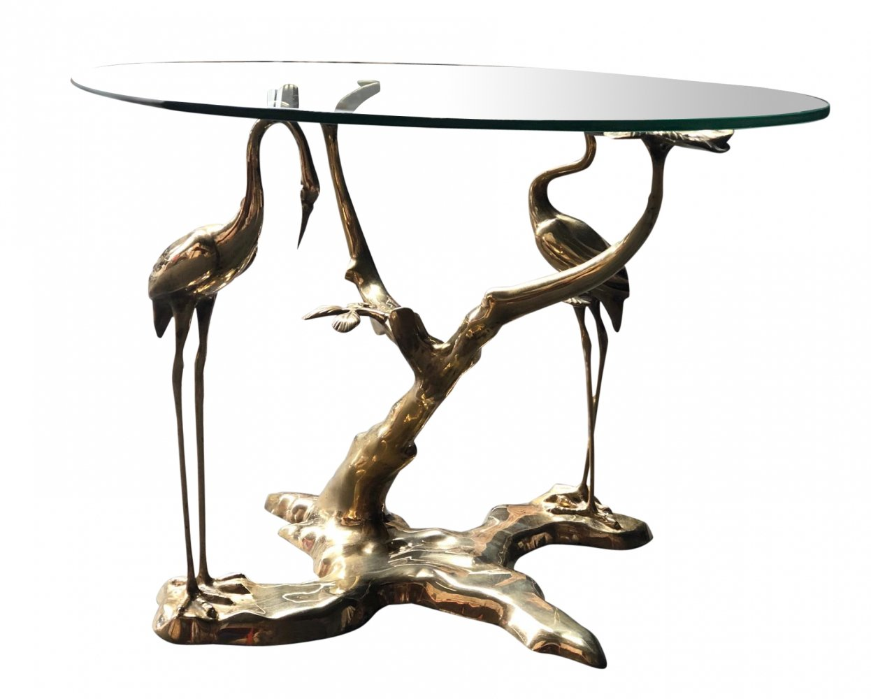 Bronze crane bird coffee table by Willy Daro, 1970s