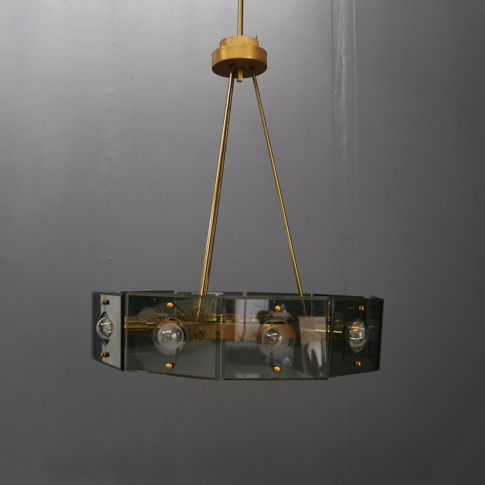 Chandelier with 10 lights by Gino Paoldo for Fontana Arte, 1950s