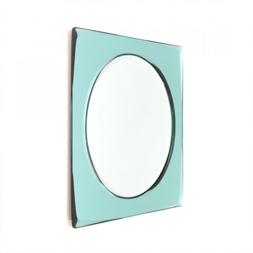 Mid century mirror with azure frame, Italy 1970s