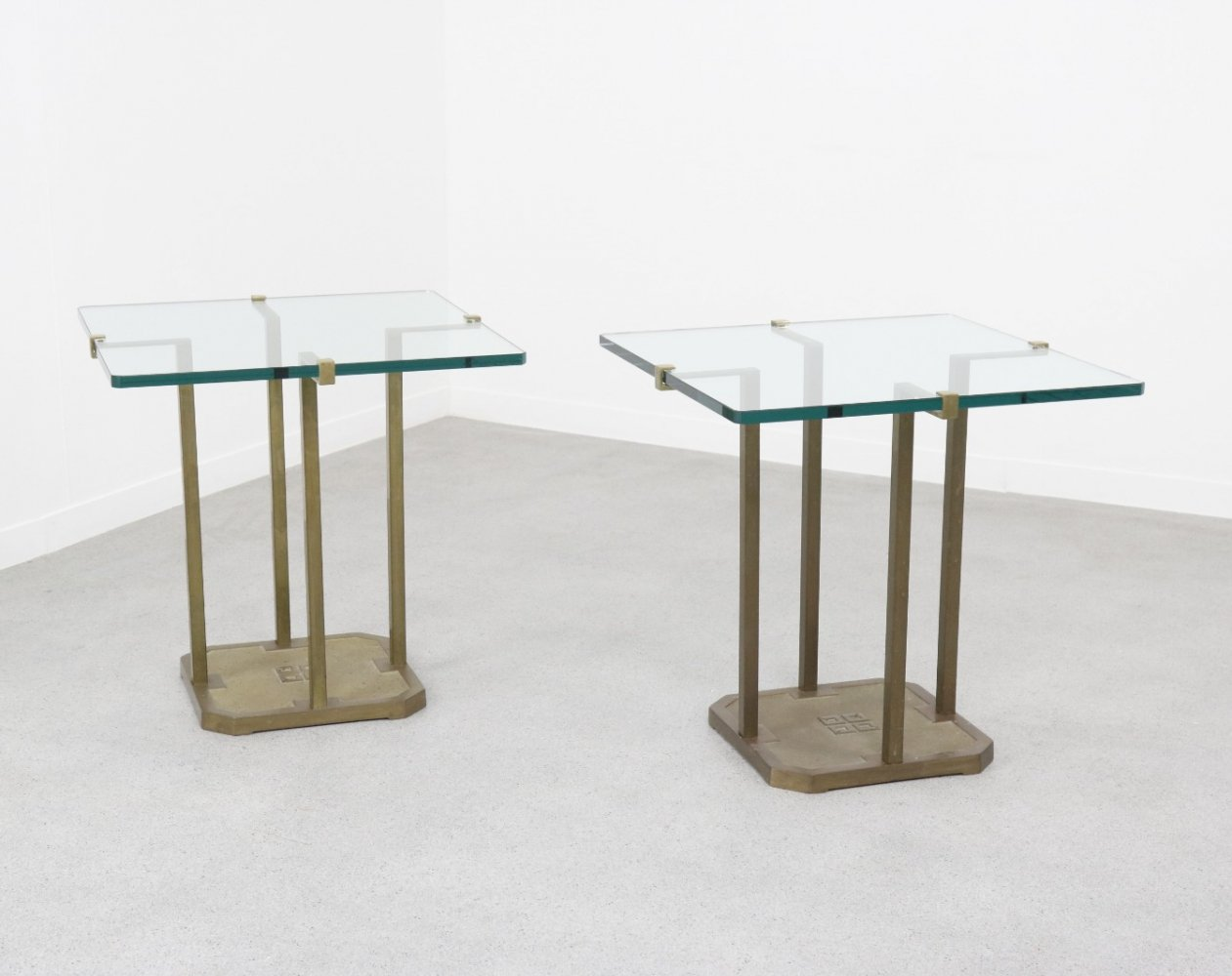Vintage pair of brass T18 side tables by Peter Ghyczy, 1970s