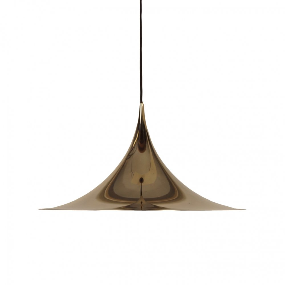 Brass Semi Pendant by Bonderup & Thorup for Fog Morup, 1960s