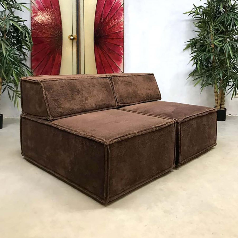 Vintage design modular chocolate brown sofa by Team Form AG for COR Sitzcomfort