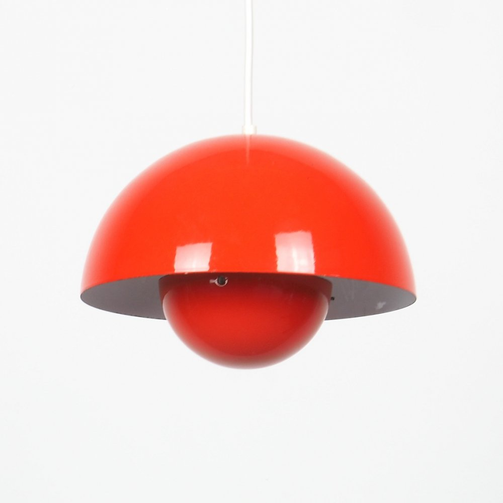 Orange flowerpot hanging lamp by Verner Panton for Louis Poulsen