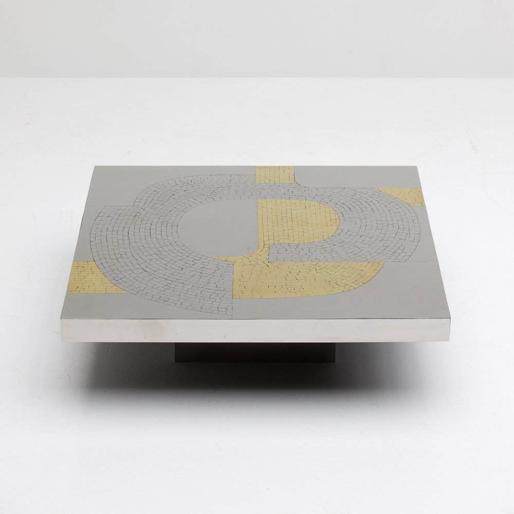 Original Aluminum Coffee Table by Fernand Dresse, 1970s