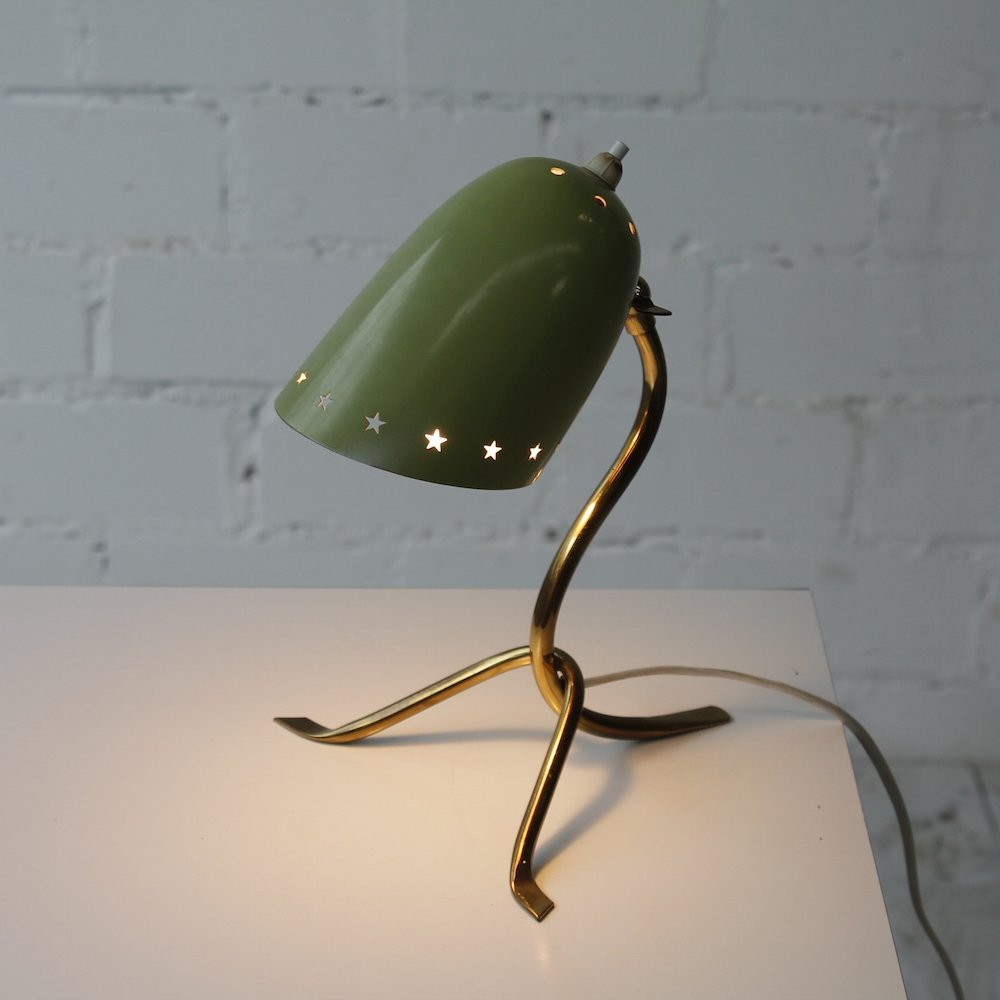 Small Vintage Brass Table Lamp, 1950s