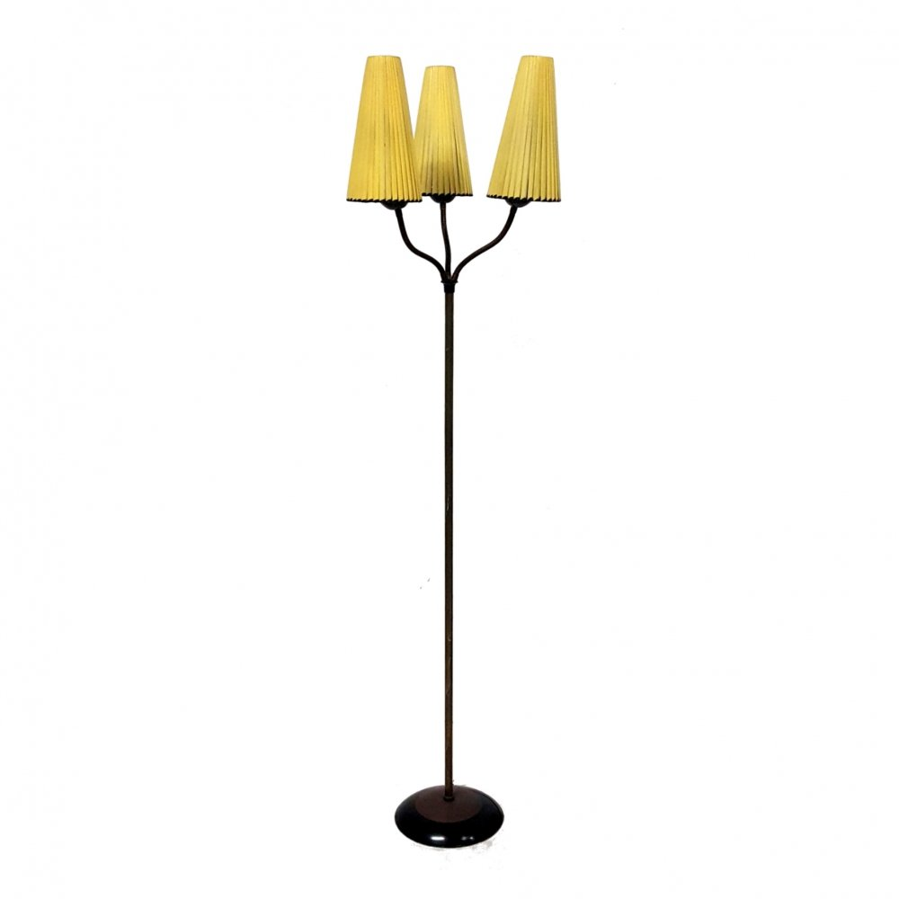 Mid century floor lamp with 3 flexible arms, France 1950s