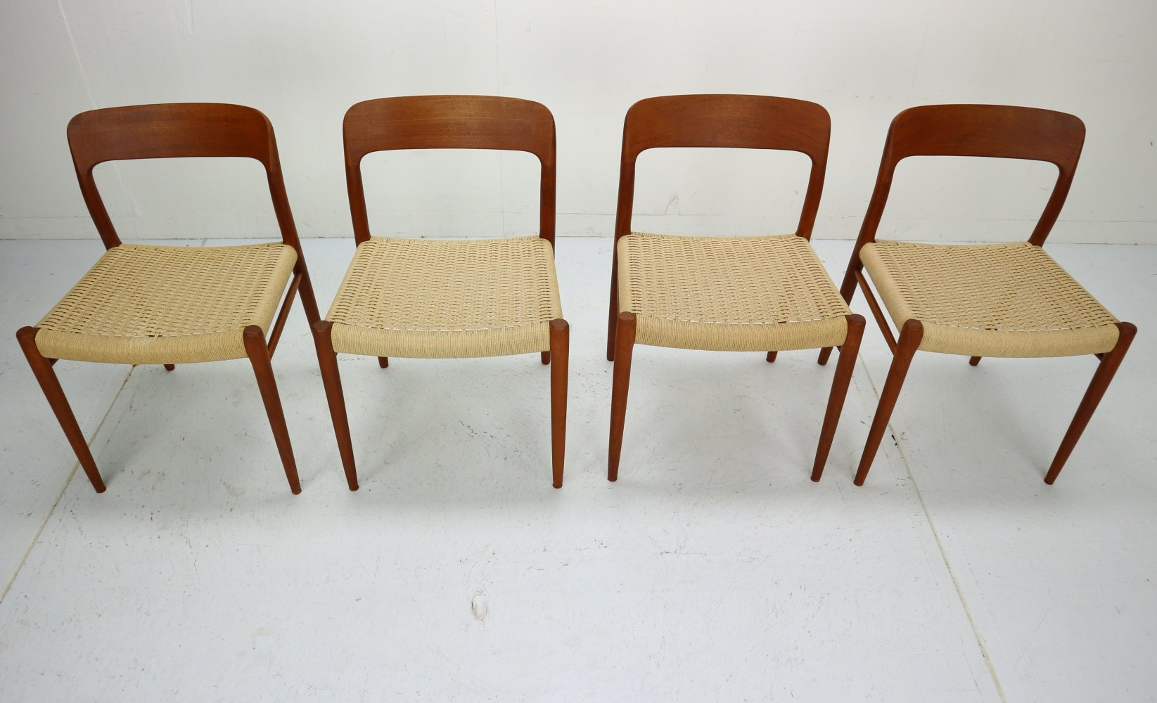 Set of 4 model 75 Dining Room Chairs by Niels Otto Møller, Denmark 1960s
