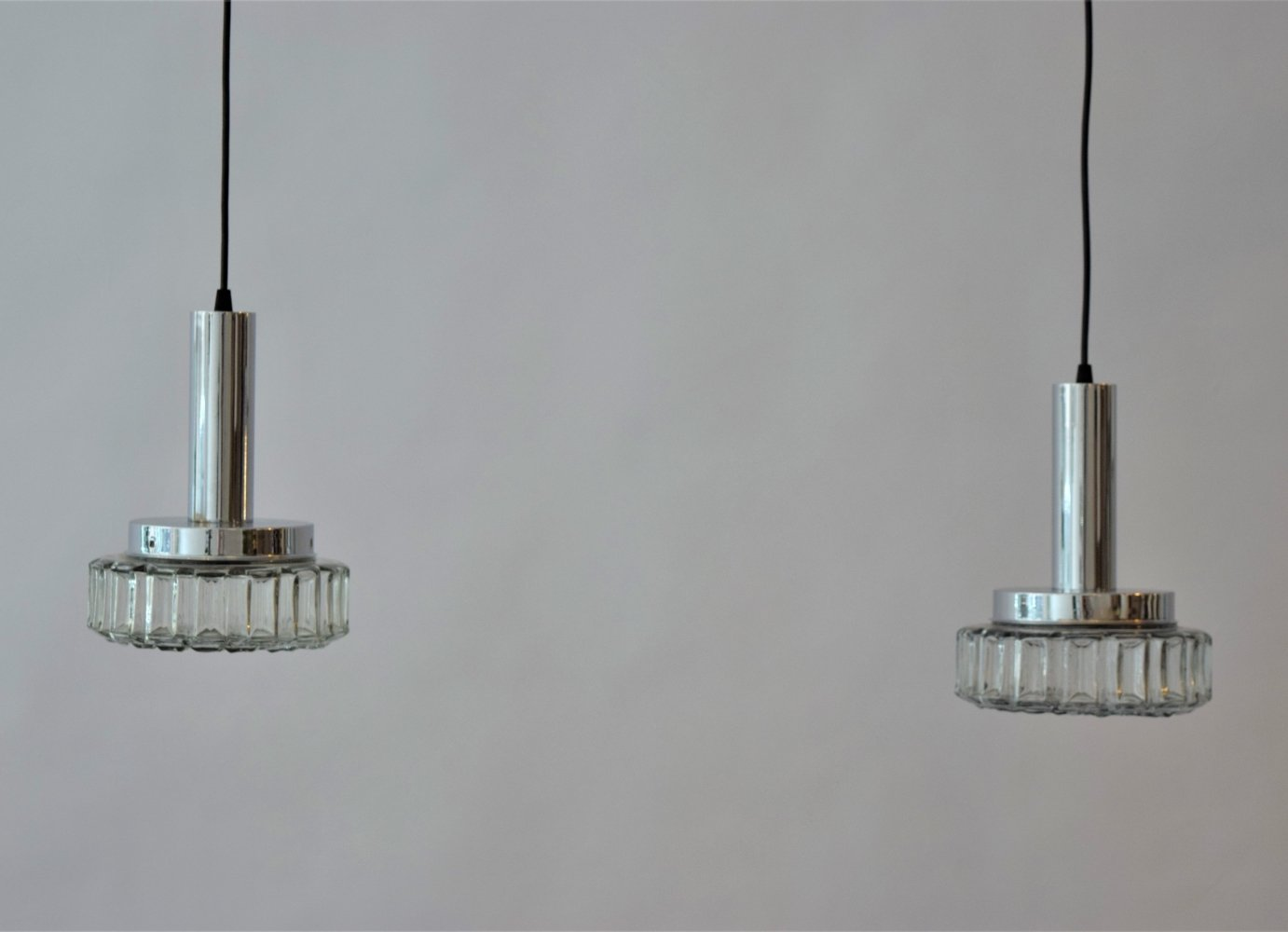 Couple of Vintage RAAK hanging lamps in Chrome & Glass, 1970s
