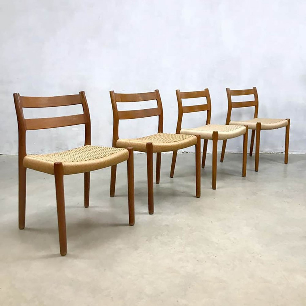 Set of 4 vintage Danish model 84 dining chairs by Niels O. Møller, 1950s