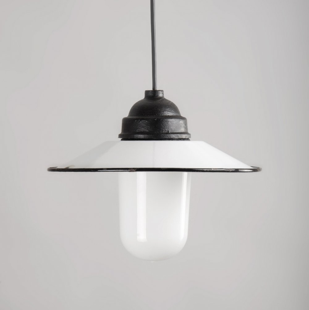 Portugese Enameled Ceiling Lamp with Glass Screen & Cast Iron Sconce, 1950s