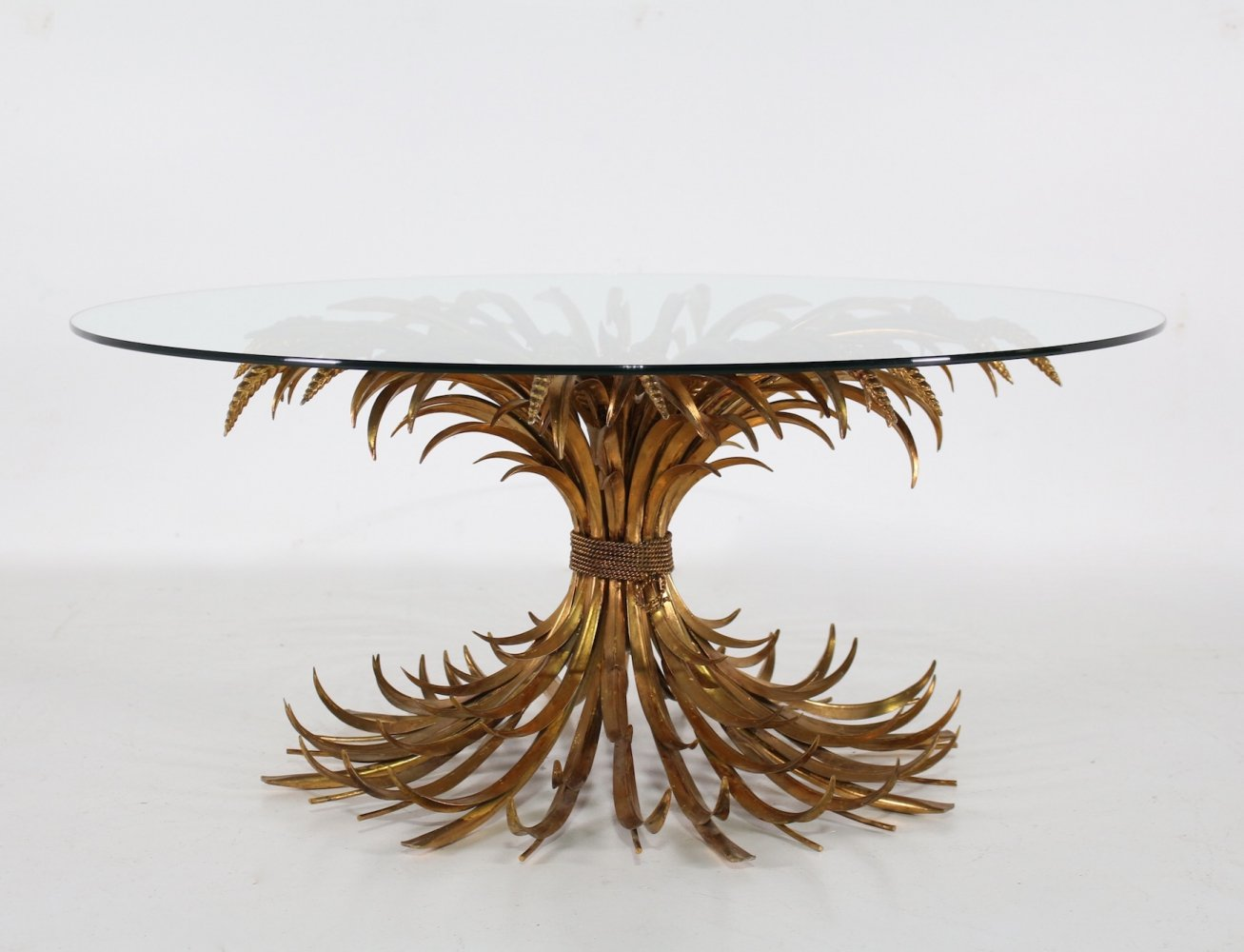 Gilt metal sheaf of wheat / Coco Chanel coffee table