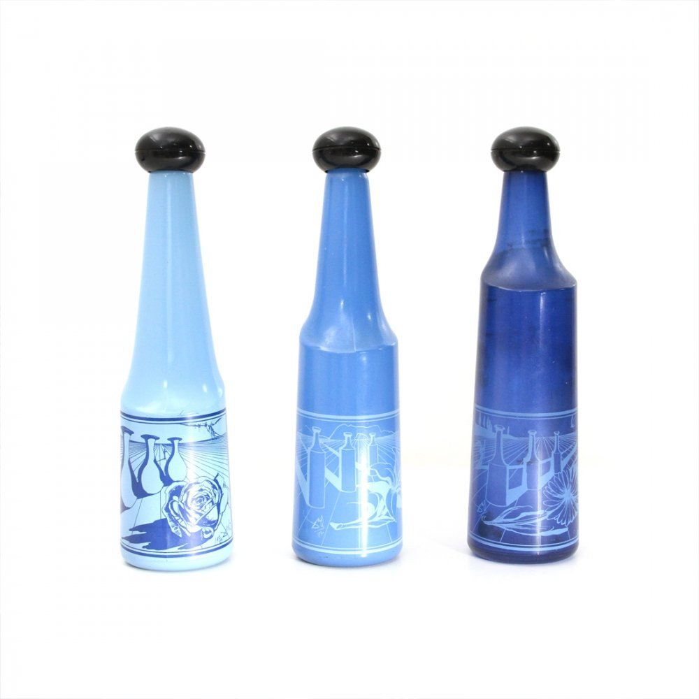 3 blue glass bottles by Salvador Dalì for Rosso Antico, 1970s