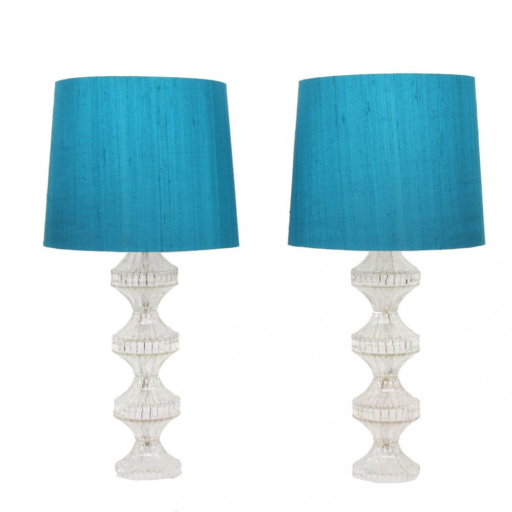 Pair of Large Glass Table Lamps