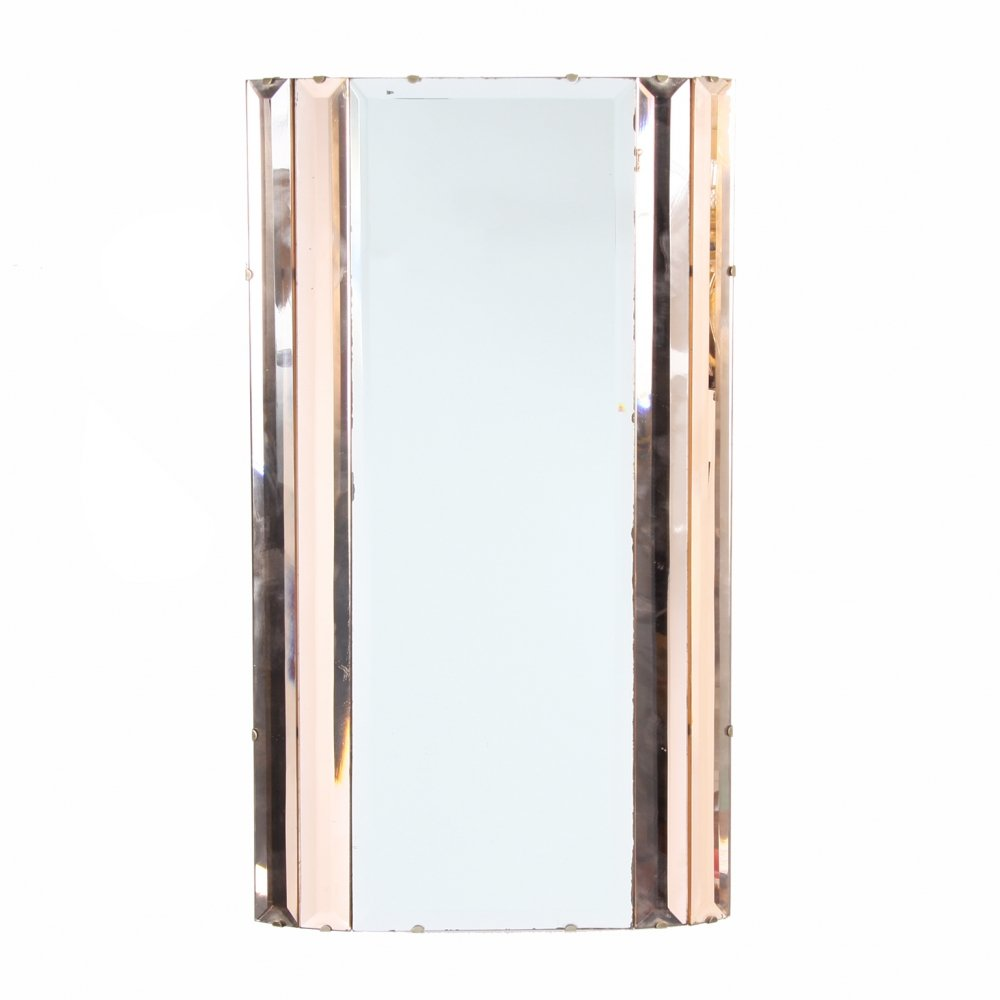 Art Deco Peach & Clear Glass Mirror