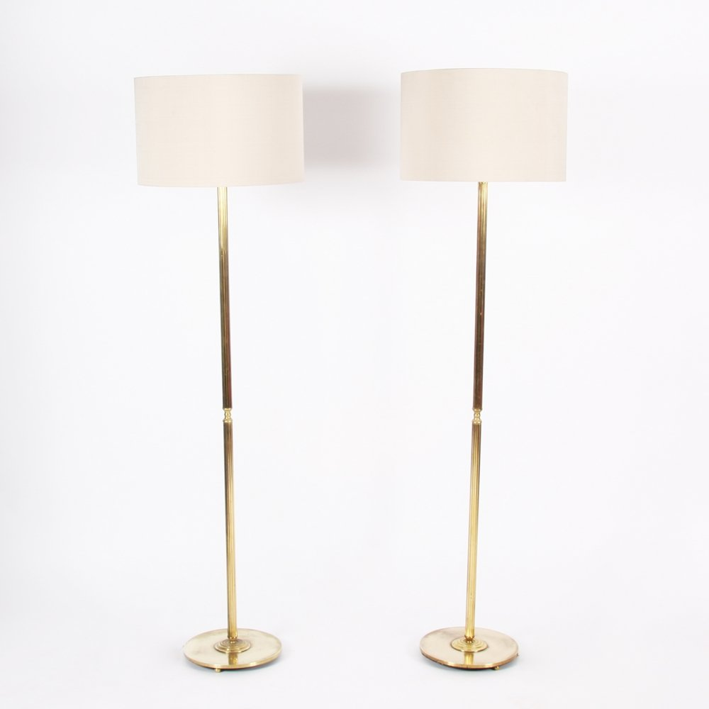 Pair of Reeded Brass Floor Lamps