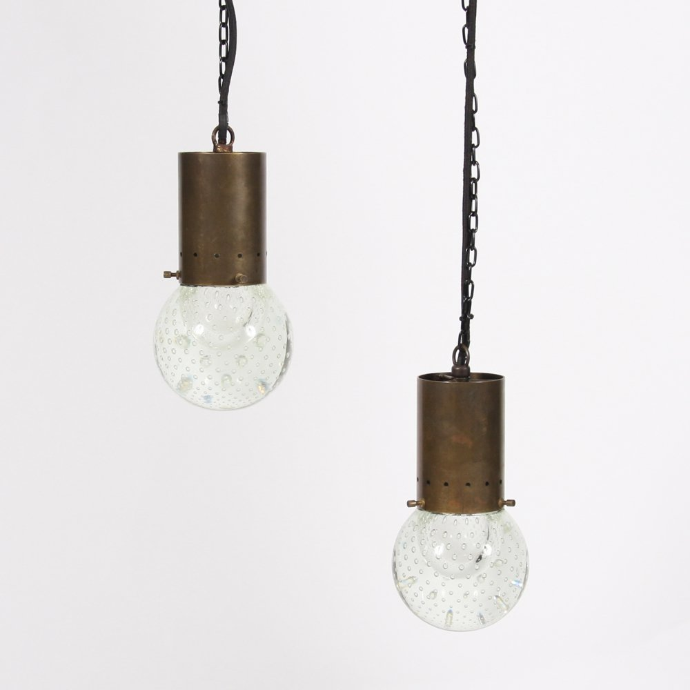 Pair of Glass Pendant Lights by Gino Sarfatti for Seguso