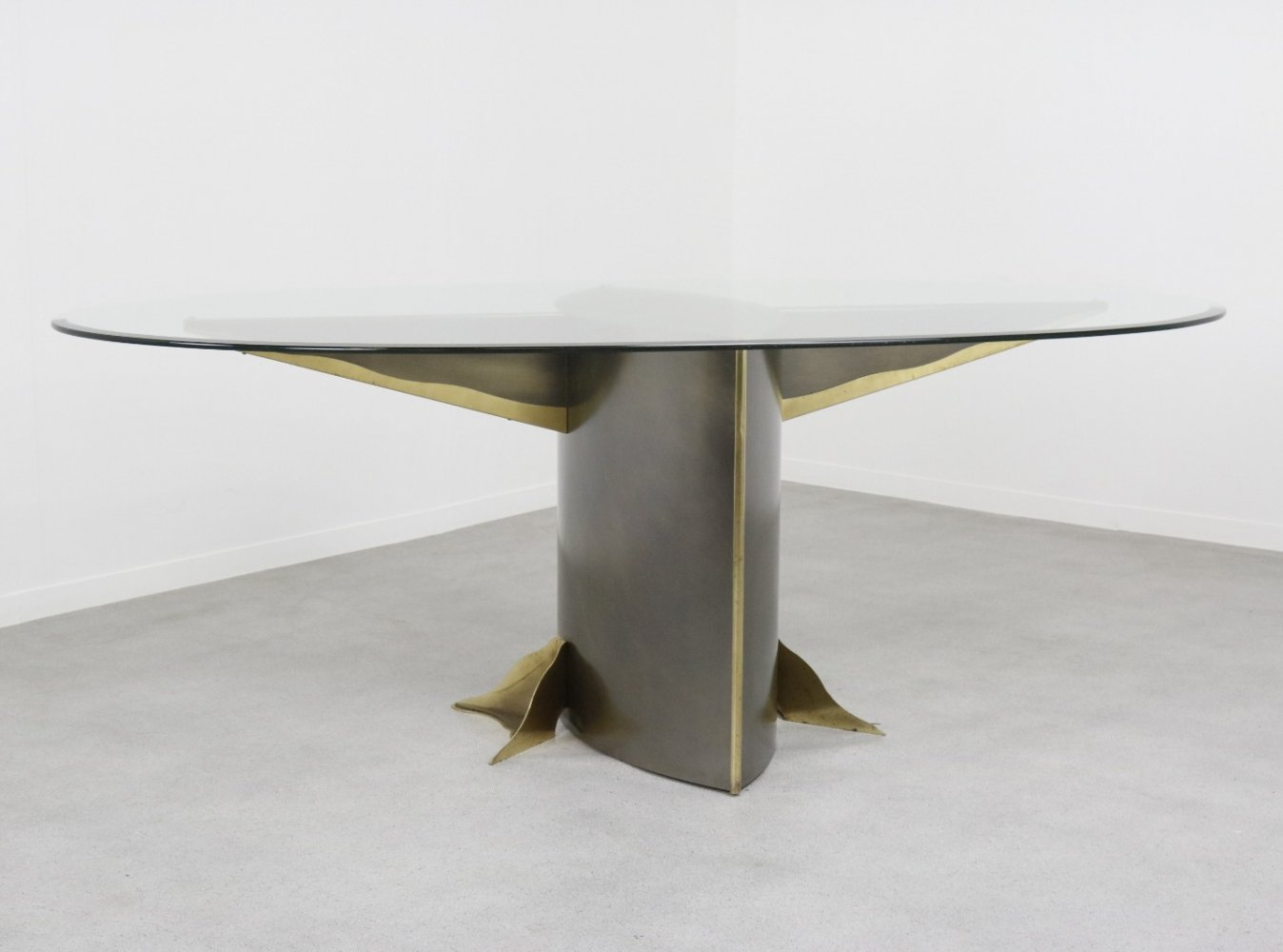 Large oval Hollywood regency style dining table by Belgo Chrom, 1970s