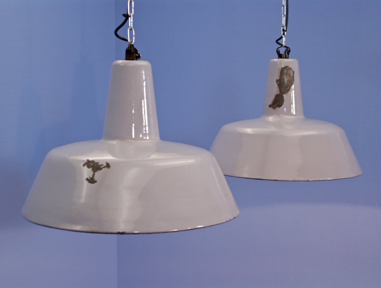 Set of 2 dutch enamelled hanging lamps in grey by Philips, 1960s