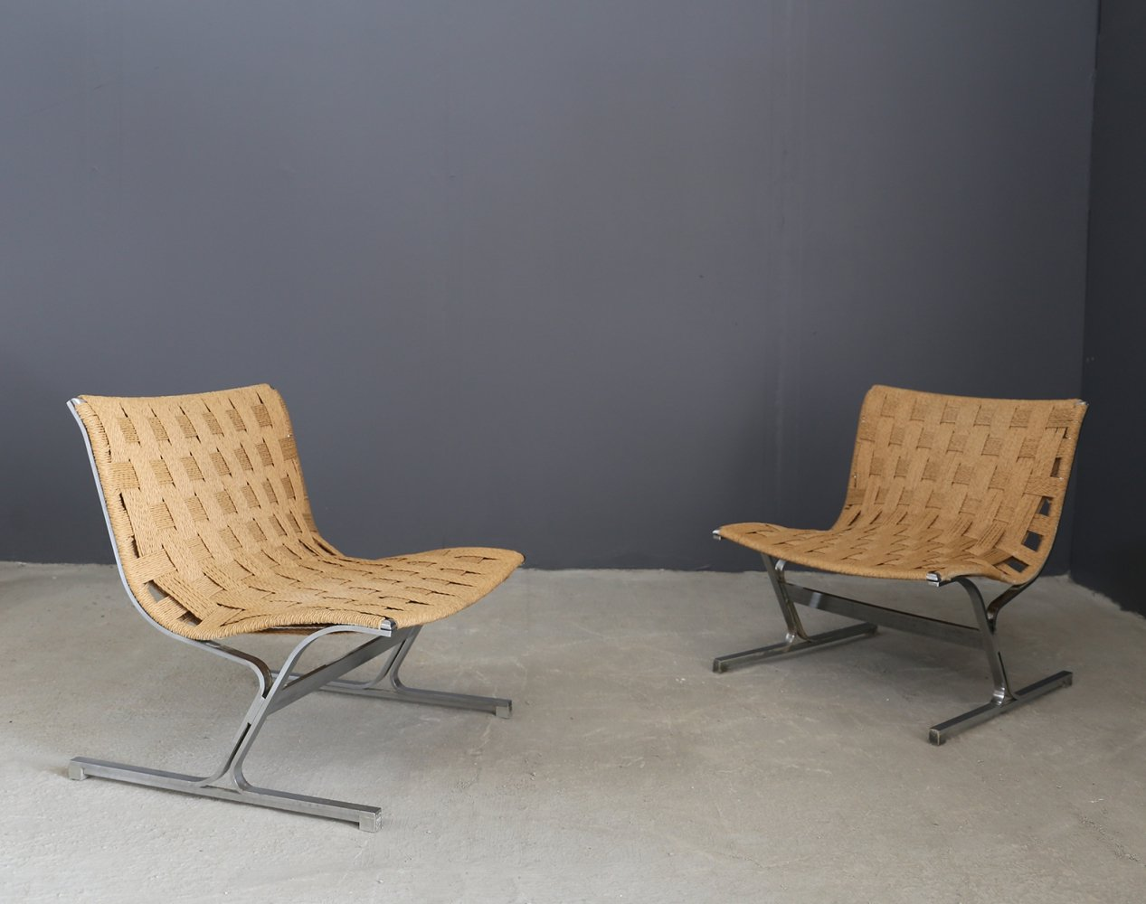 Rare Pair of 'Luar' chairs by Ross Littell, 1965