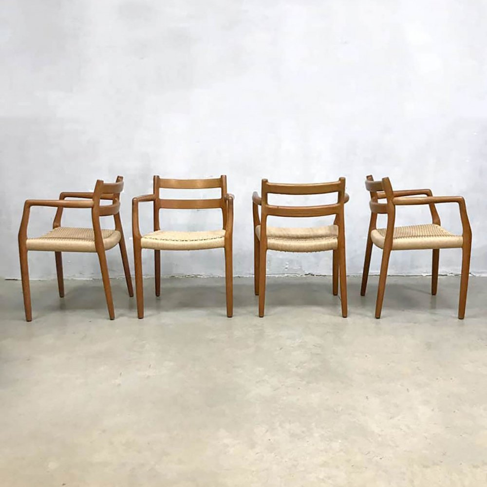 Set of 4 vintage 'model 67' Danish dining chairs by Niels O. Møller, 1950s