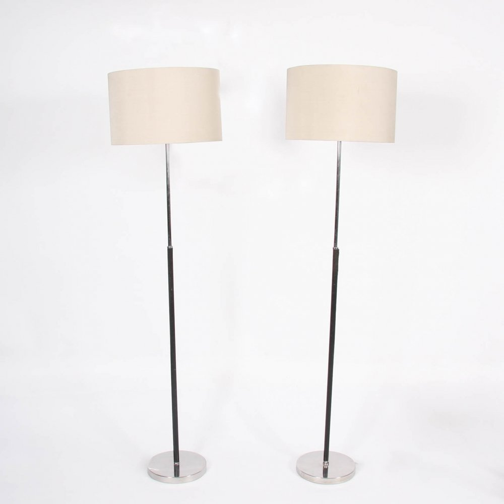 Pair of Black Leather & Chrome Floor Lamps