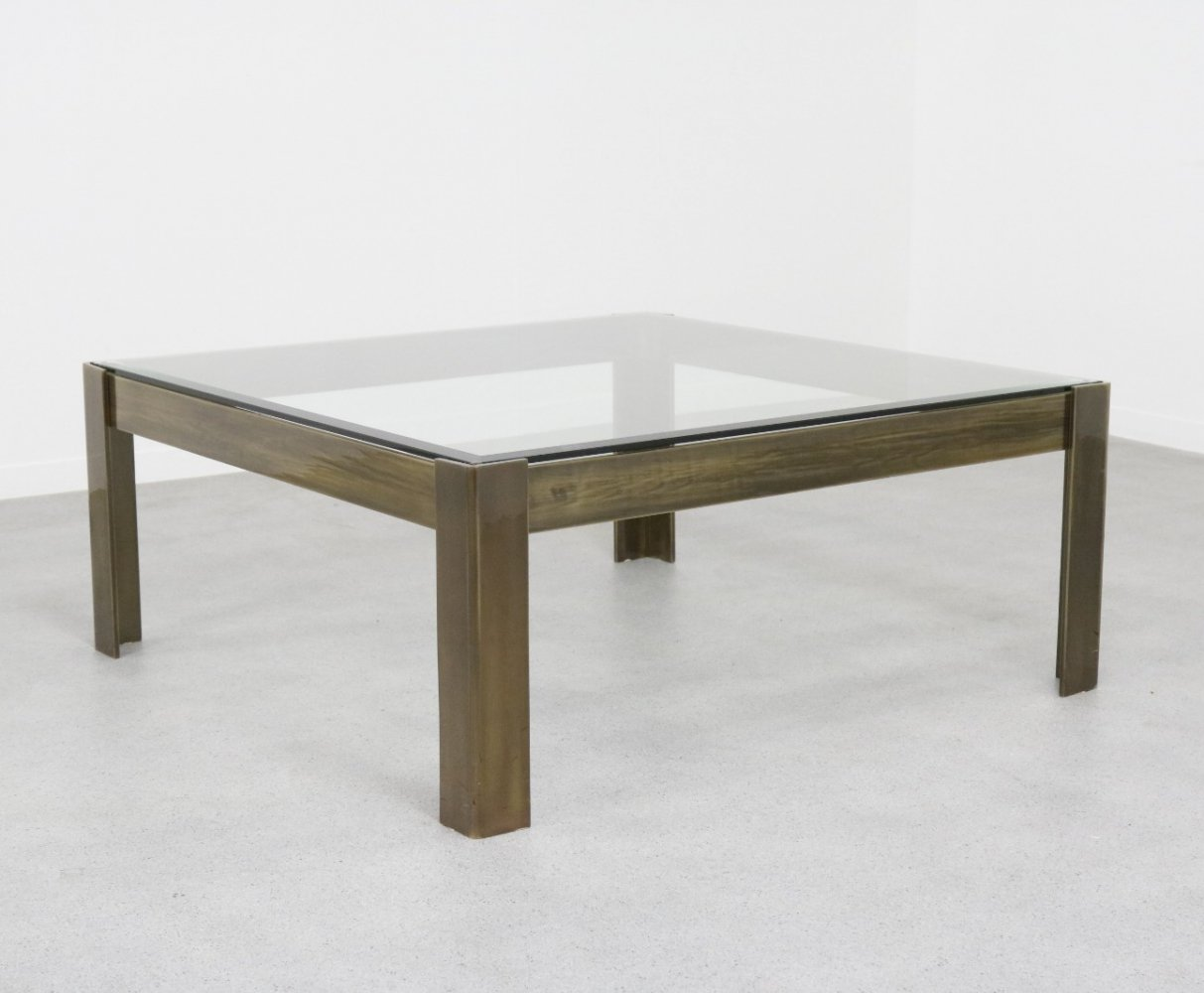 Large coffee table in brass coloured steel & glass, 1970s