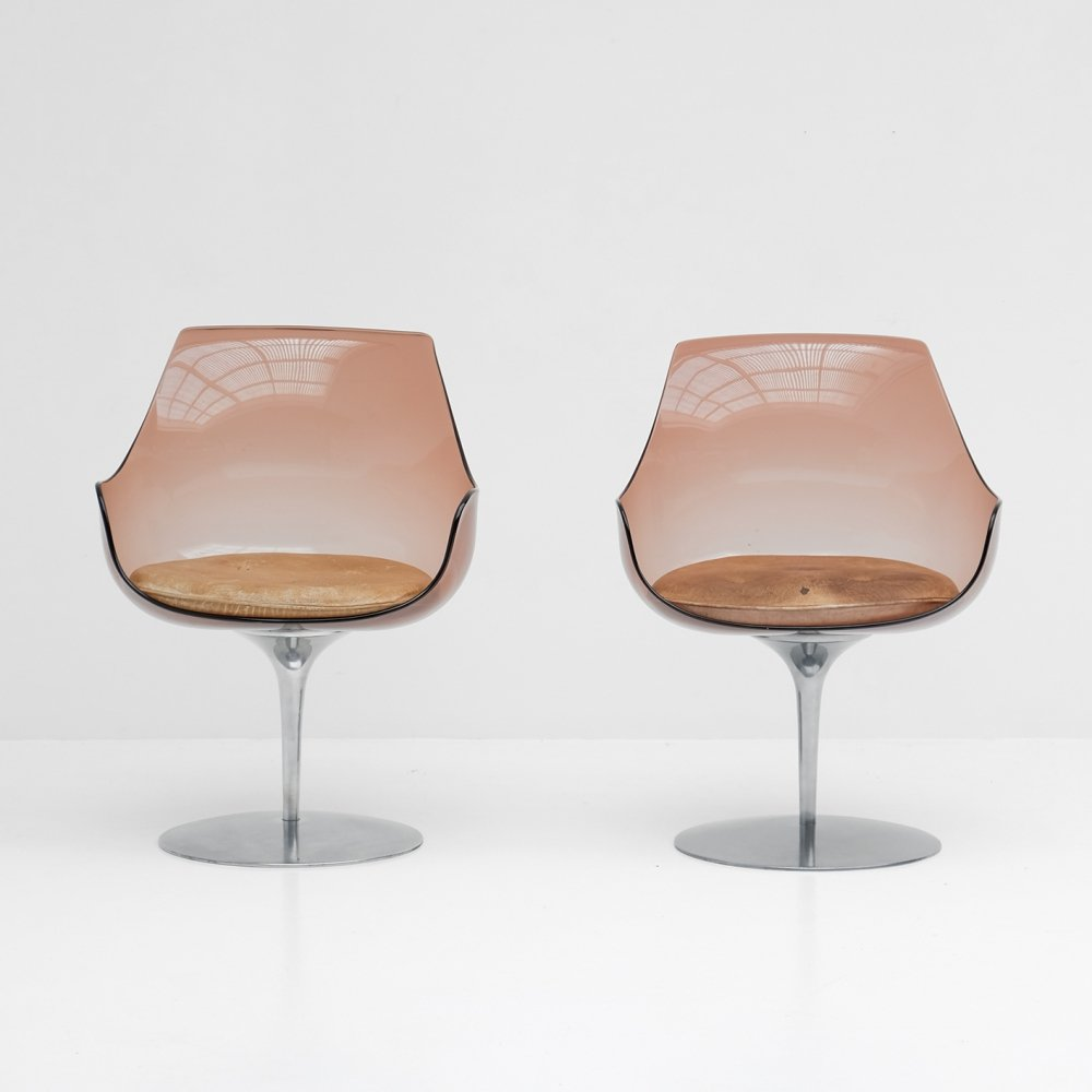 Pair of dining chairs by Irvine & Estelle Laverne for Formes Nouvelles, 1960s