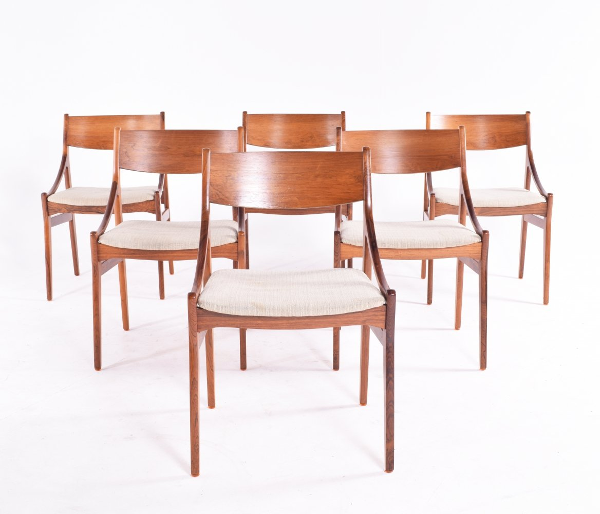 Set of 6 Midcentury Rosewood Dining Chairs by Vestervig Erikson for Brdr. Tromborg