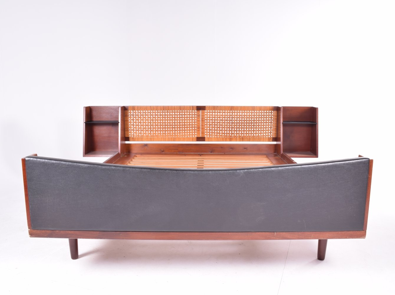 Midcentury Hans J Wegner Double Master Bed with Teak & Rattan