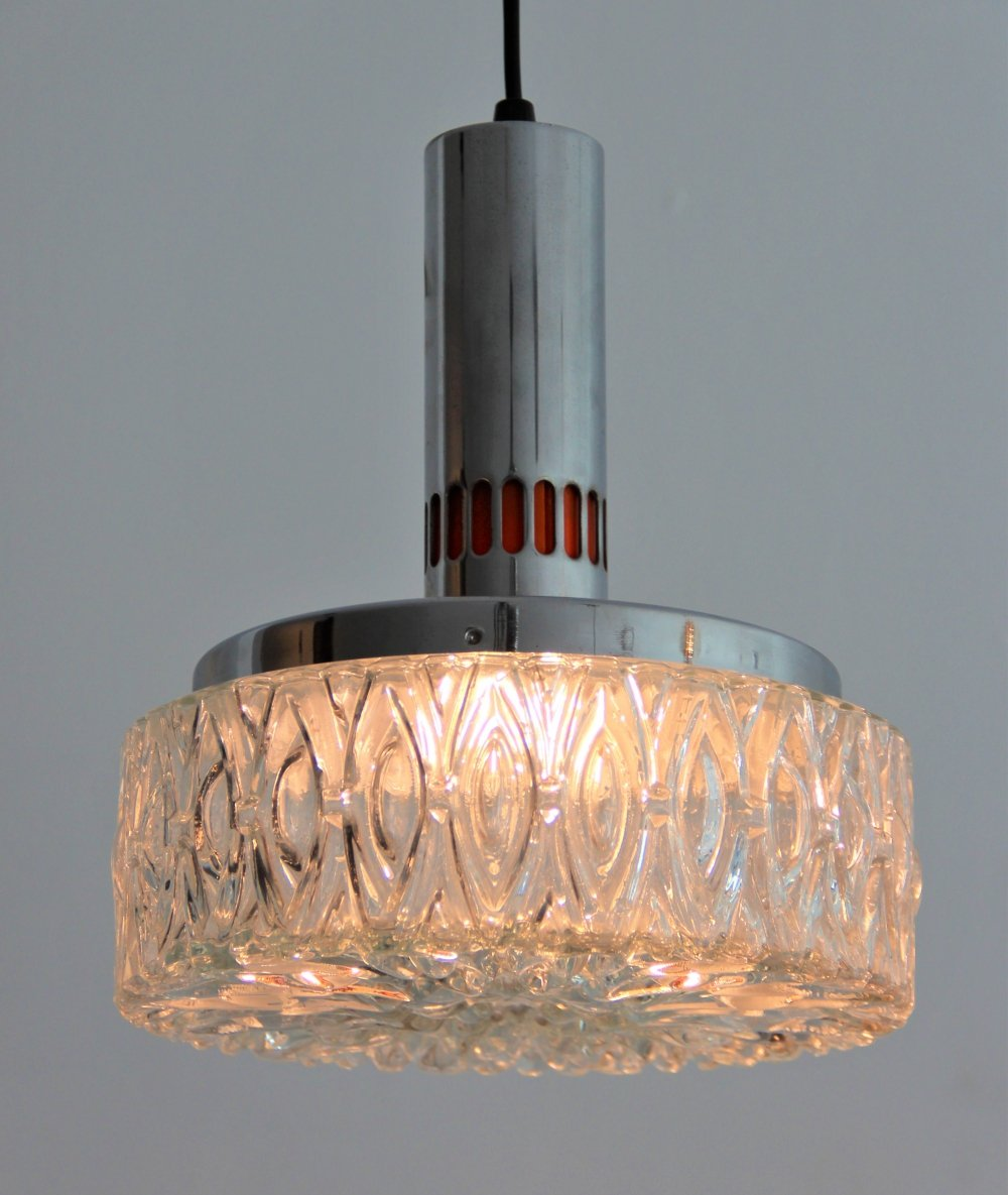 50s Glass/Chrome Lita hanging lamp with orange details