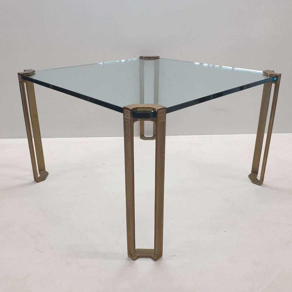 Square brass & glass coffee table by Peter Ghyczy