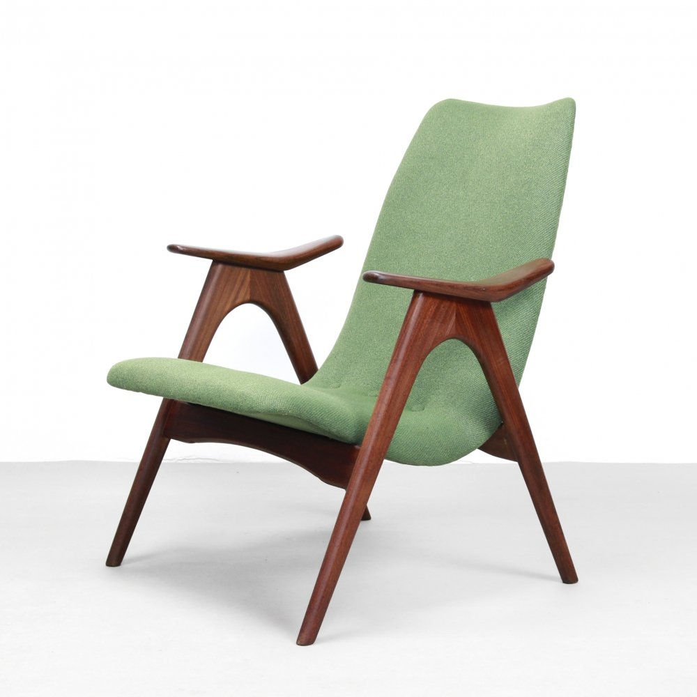 Teak Dutch design arm chair by Louis van Teeffelen for WeBe