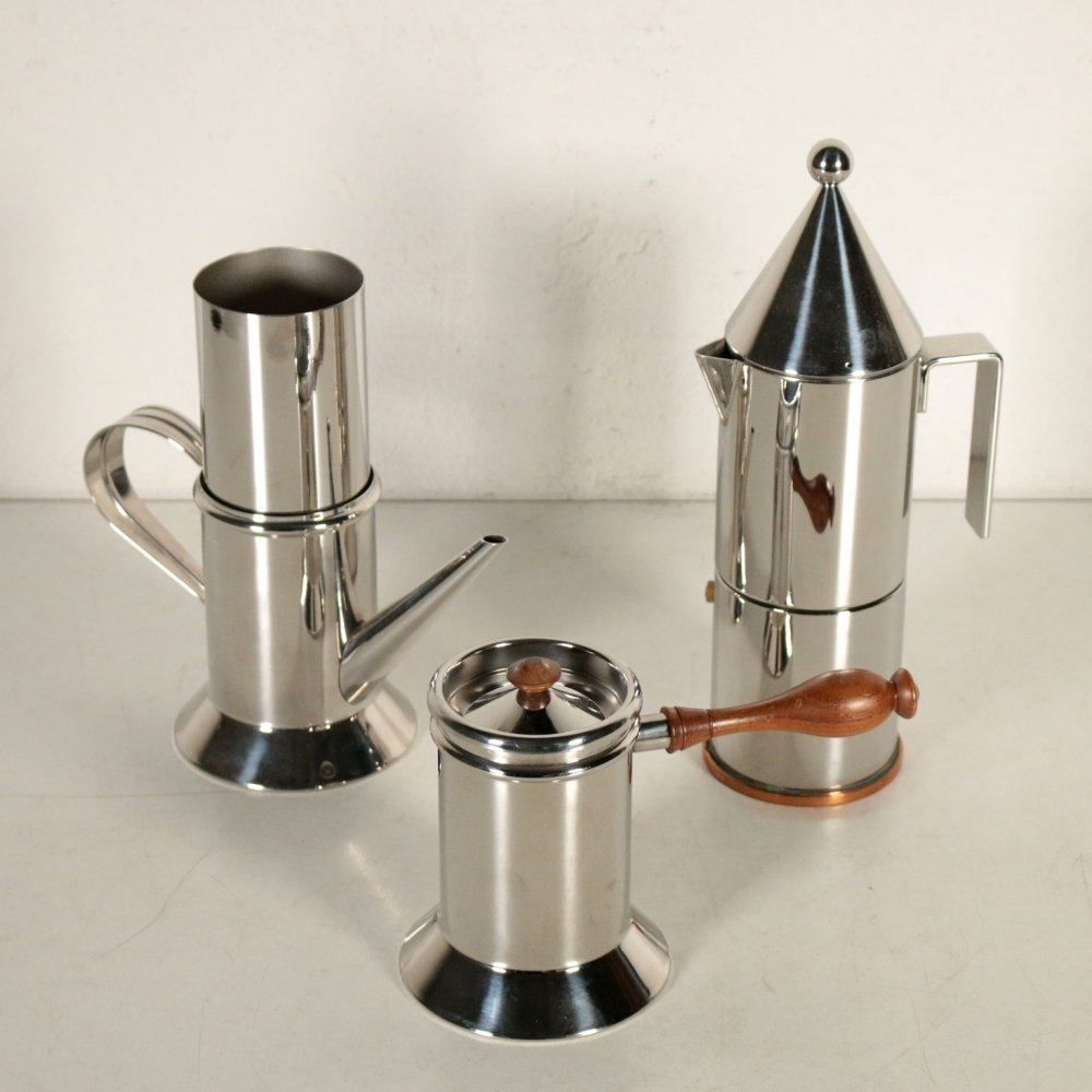 Coffee Maker Set by Aldo Rossi & Riccardo Dalisi for Officina Alessi, 1980s