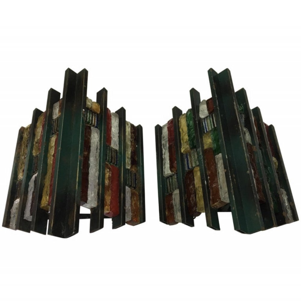 Set of Two Brutalist iron & Multicolored glass Wall Sconces by Longobard, Italy 1970s