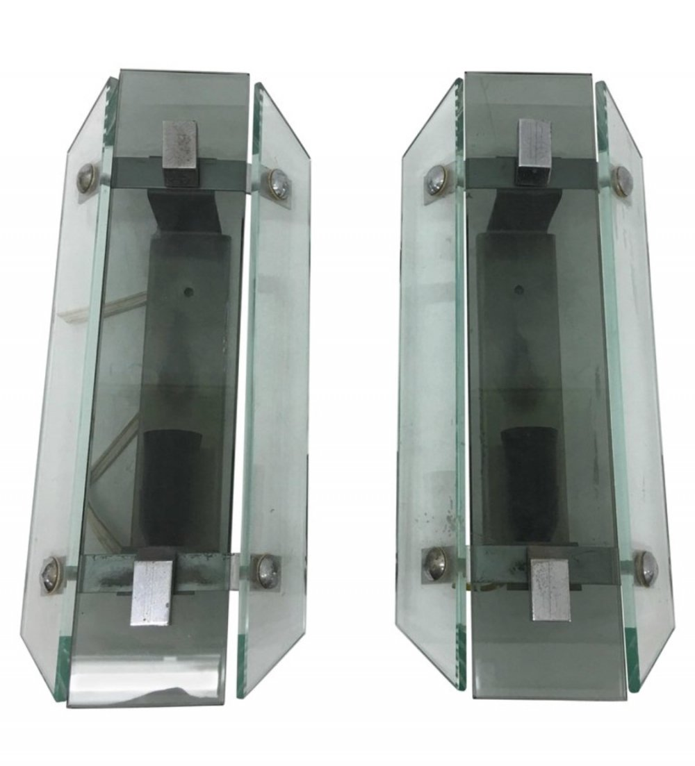Pair of Italian Grey & Green Glass Rectangular Wall Sconces by Veca, 1960s