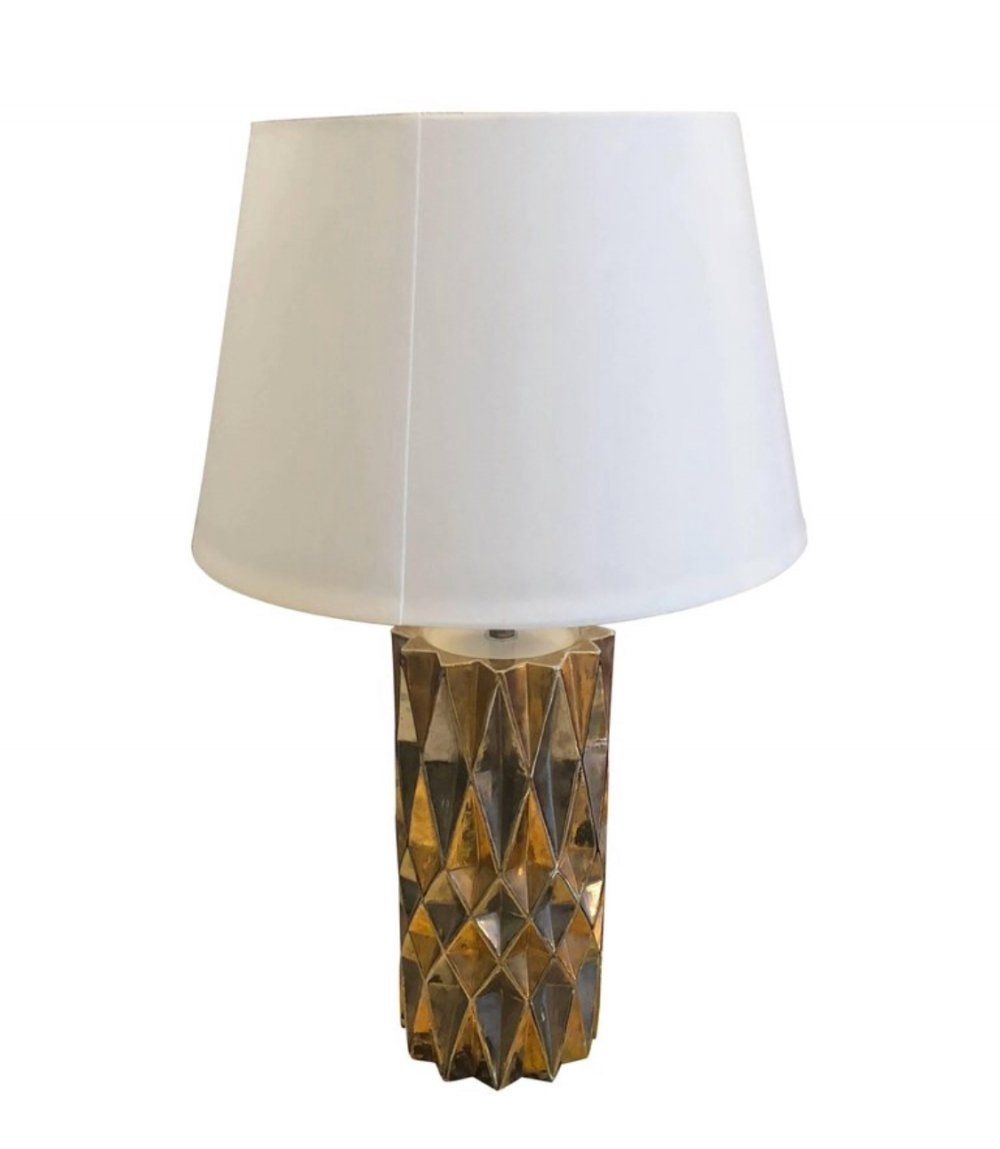 Mid-Century Modern Italian silver & gold painted ceramic Table Lamp, 1960s