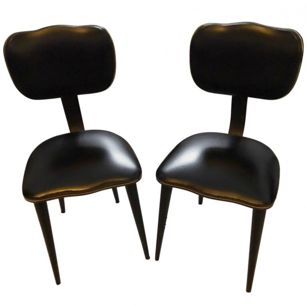 Set of two Black Italian Chairs, circa 1950
